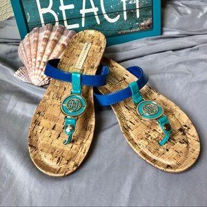 Dana Buchman Strappy Sandal 8.5 Blue Tan